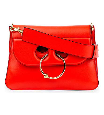 JW ANDERSON Pierce medium leather shoulder bag (Scarlet