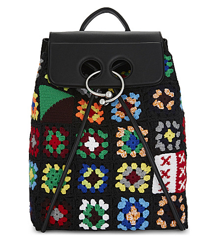 JW ANDERSON Crocheted leather Pierce backpack (Black+multi