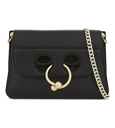 JW ANDERSON Mini Pierce leather cross-body bag (Black