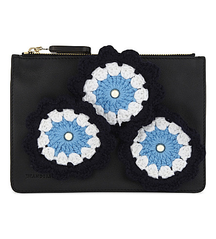 JW ANDERSON Crocheted daisies leather pouch (Black