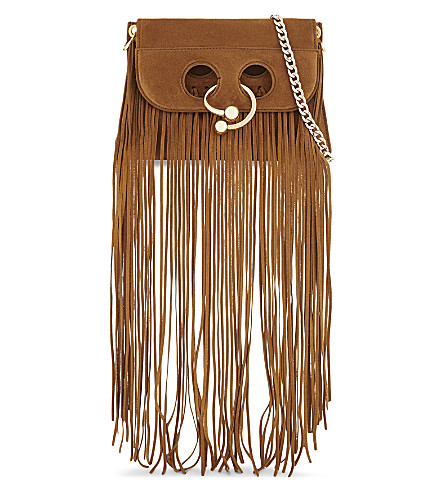 JW ANDERSON Pierce fringed suede mini shoulder bag (Cognac