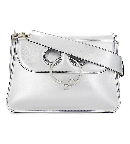 JW ANDERSON Pierce metallic leather shoulder bag (Silver