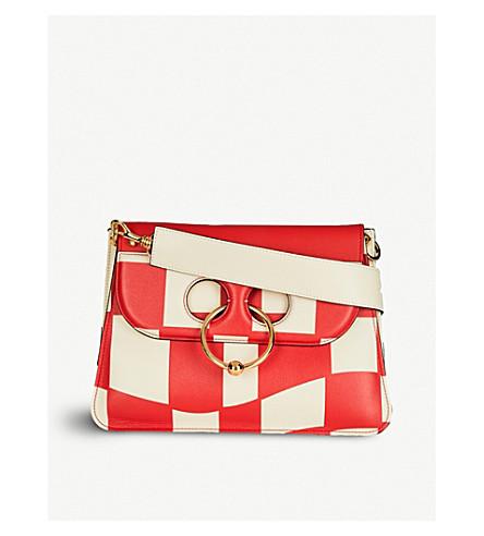 JW ANDERSON Pierce Checkerboard medium leather shoulder bag (Cream