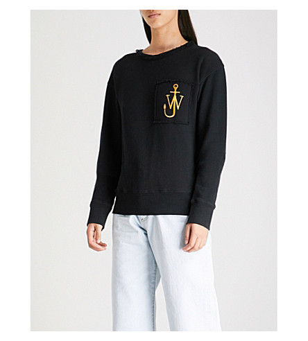 JW ANDERSON Logo-embroidered cotton-jersey sweatshirt (Washed+balck