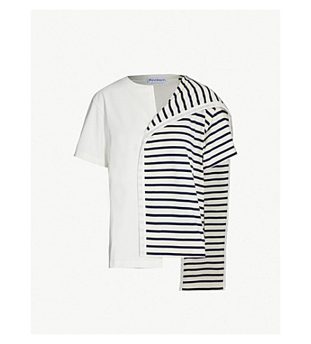 JW ANDERSON Contrast-panel cotton-jersey T-shirt (Navy