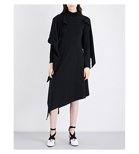 JW ANDERSON Asymmetric cotton-jersey dress (Black
