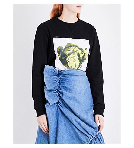 JW ANDERSON Lettuce-print cotton-jersey sweatshirt (Black