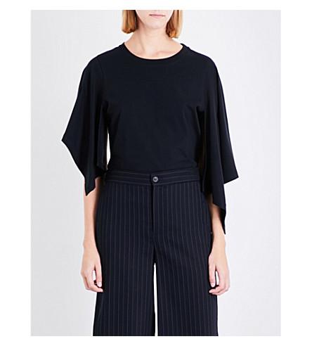 JW ANDERSON Asymmetric drape cotton-jersey T-shirt (Black