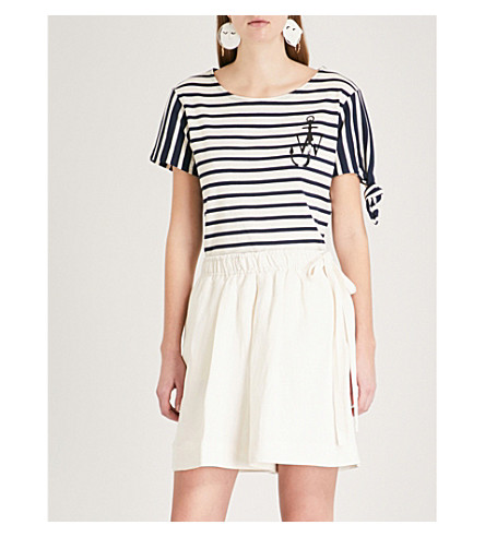 JW ANDERSON Striped cotton-jersey T-shirt (Navy+off+white