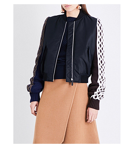 JW ANDERSON Cable-knit wool and shell bomber jacket (Black