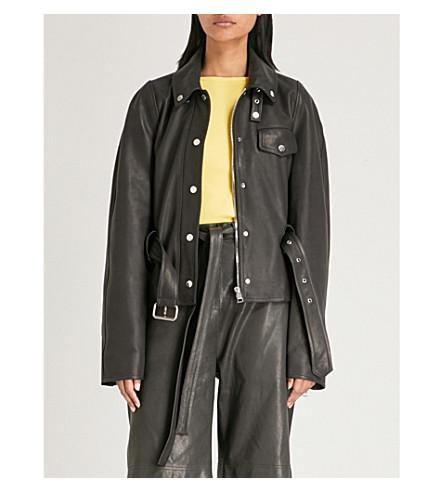 JW ANDERSON Belted longline leather jacket (Black