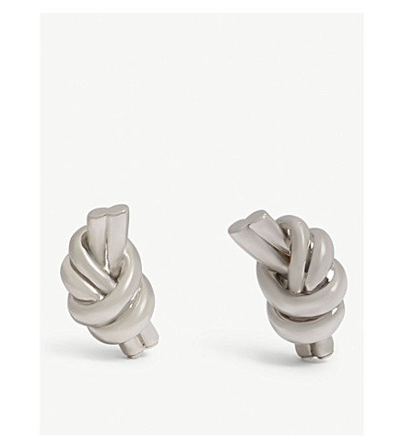 JW ANDERSON Knot eco brass earrings (Silver