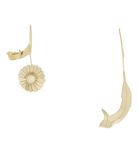JW ANDERSON Daisy and leaf earrings (Gold