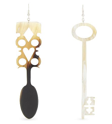 JW ANDERSON Irish spoon and key natural horn earrings (Multi+maroon