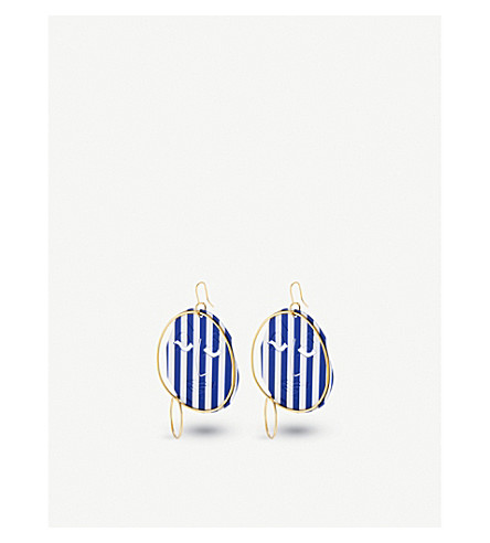 JW ANDERSON Moon Face gold-plated earrings (Sapphire