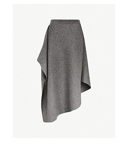JW ANDERSON Draped asymmetric-hem wool midi skirt (Mid+grey+milange