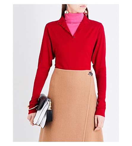 JW ANDERSON Double-layered stretch-wool jumper (Crimson