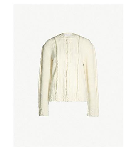 JW ANDERSON Cable-knit wool-blend jumper (Parchment