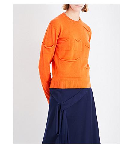 JW ANDERSON Multi-pocket wool and cashmere-blend jumper (Tangerine