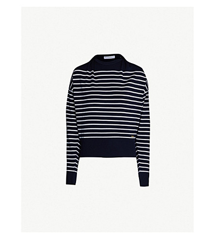 JW ANDERSON Draped-neck striped wool jumper (Navy
