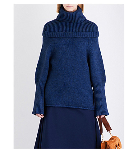 JW ANDERSON Turtleneck wool-blend jumper (Indigo