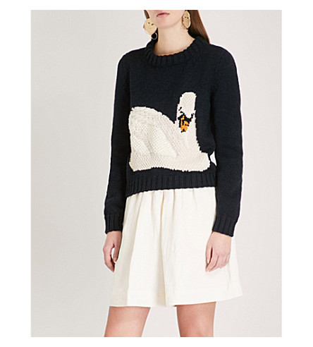 JW ANDERSON Swan-embroidered wool jumper (Navy