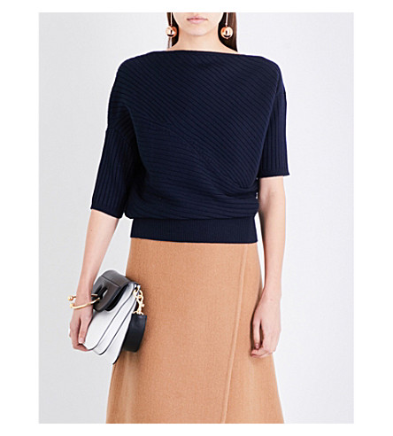 JW ANDERSON Draped high-neck ribbed-knit merino wool top (Navy