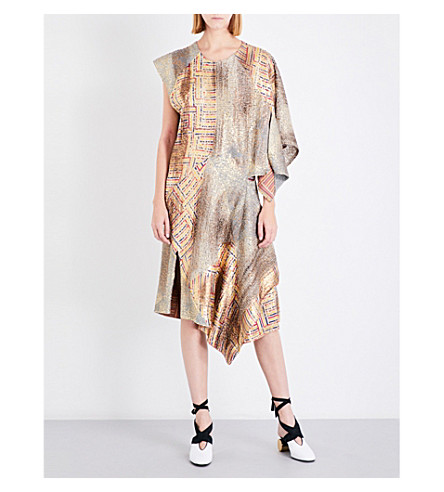 JW ANDERSON Aztec metallic-jacquard midi dress (Gold