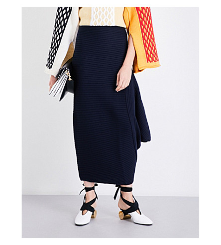 JW ANDERSON Draped fitted merino wool midi skirt (Navy