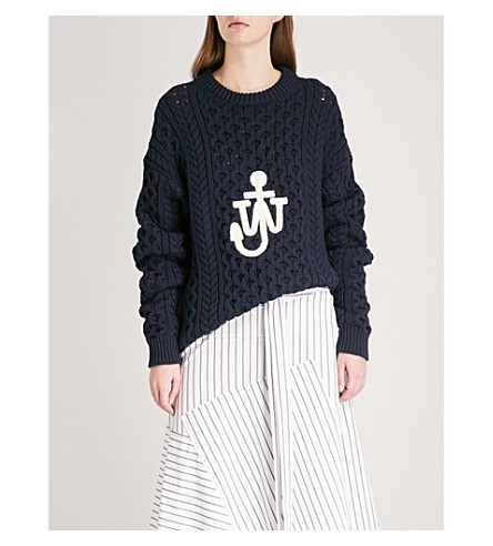 JW ANDERSON Logo-embroidered cable-knit jumper (Navy