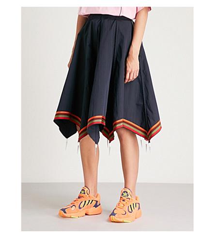 JW ANDERSON Striped-hem cotton umbrella skirt (Navy