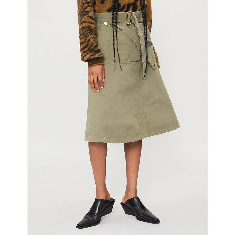 Pocket-panel cotton-drill skirt