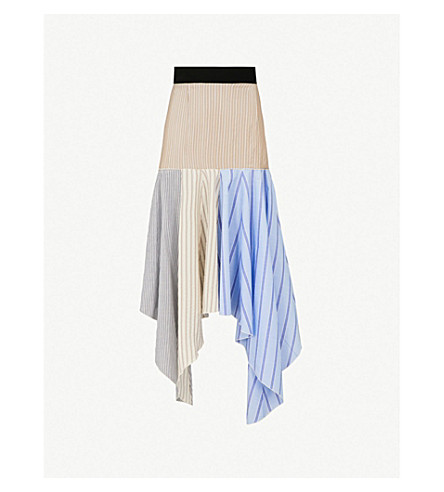 JW ANDERSON Striped handkerchief-hem silk midi skirt (Clay