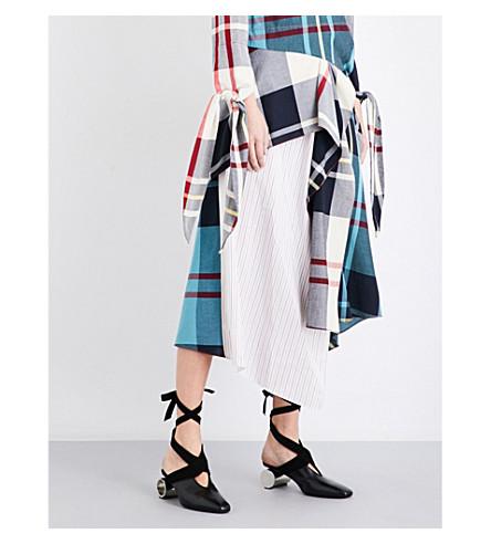 JW ANDERSON Patchwork asymmetric woven midi skirt (White