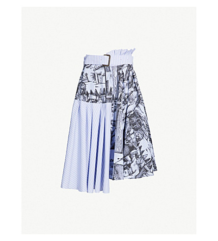 JW ANDERSON Illustration-print asymmetric belted cotton skirt (China blue