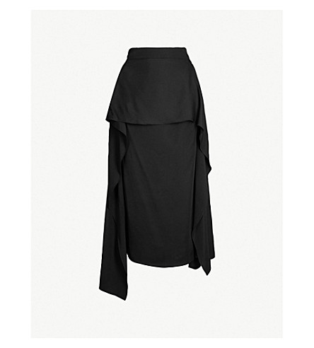 JW ANDERSON Draped-panel asymmetric woven midi skirt (Black