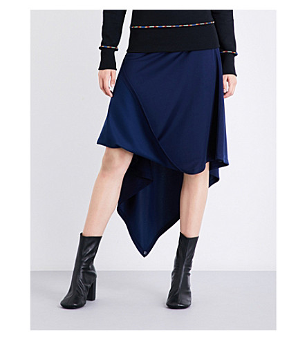 JW ANDERSON Asymmetric woven A-line skirt (Midnight+blue