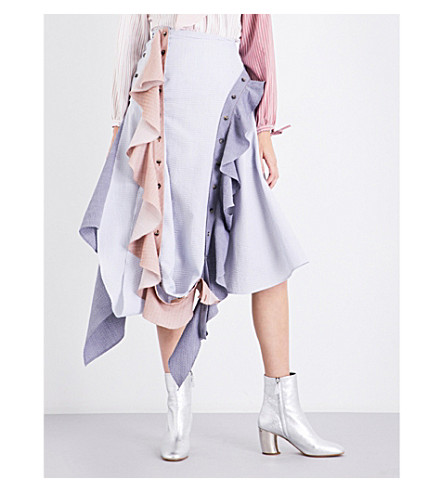 JW ANDERSON Frilled asymmetric cotton skirt (Chambray