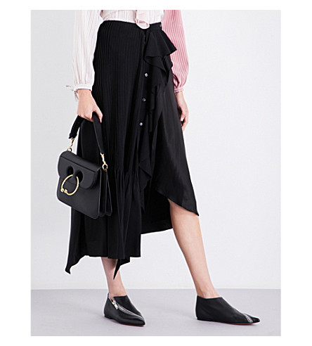 JW ANDERSON Frilled asymmetric silk skirt (Black