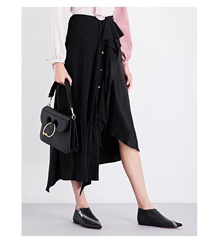 JW ANDERSON Frilled asymmetric silk skirt (Black