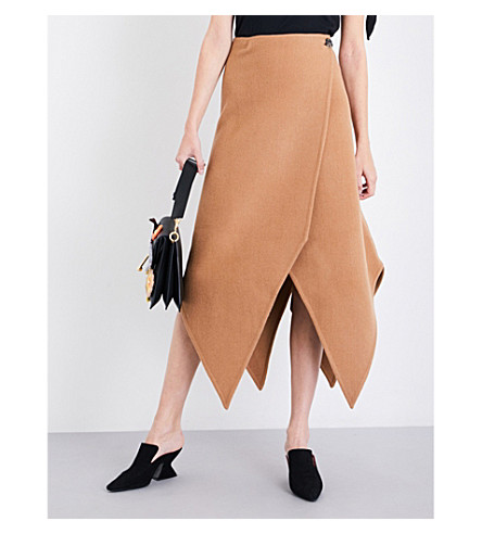 JW ANDERSON Pointed wool and cashmere-blend skirt (Camel