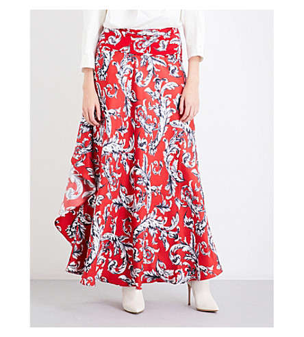 JW ANDERSON Filigree-print ruffled silk-crepe maxi skirt (Cherry