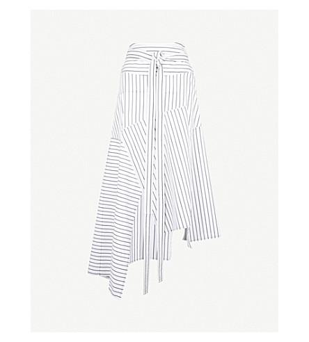 JW ANDERSON Striped cotton midi skirt (Off white