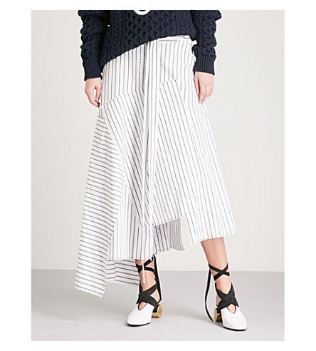 JW ANDERSON Striped cotton midi skirt (Off+white