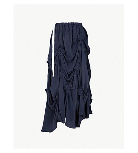 JW ANDERSON Florette-detail asymmetric silk maxi skirt (Navy off white