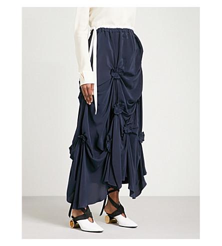 JW ANDERSON Florette-detail asymmetric silk maxi skirt (Navy+off+white