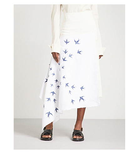 JW ANDERSON Swallow-embroidered asymmetric linen skirt (Off+white