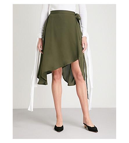 JW ANDERSON Asymmetric silk-crepe wrap skirt (Khaki