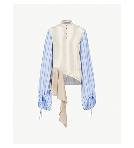 JW ANDERSON Striped asymmetric-hem silk shirt (Calico