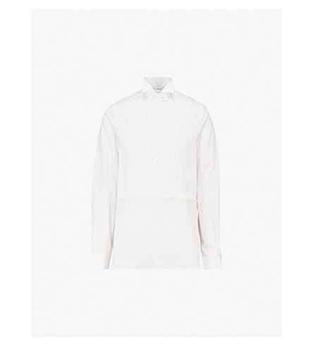 JW ANDERSON Striped cotton-poplin tuxedo shirt (White